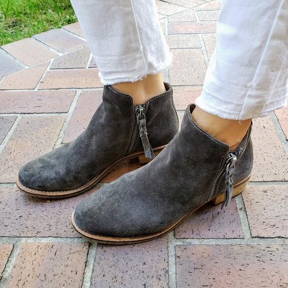 630044f5bad Dolce Vita Sutton Grey Suede Double Zipper Boots